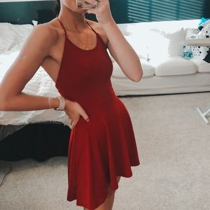 Urban Outfitters Crepe Lace-Up Back Halter Dress
